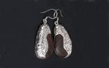 Silver wood earring